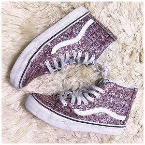 Vans Off the wall, pink glitter hi top sneaker  8